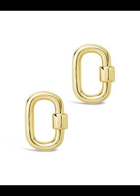 Sterling Forever Gold Carabiner Lock Studs