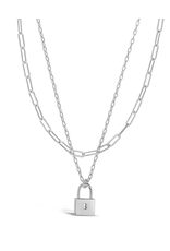 Sterling Forever Silver Lock & Chain Link Layered Necklace