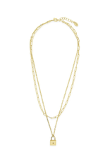 Sterling Forever Gold Lock & Chain Link Layered Necklace