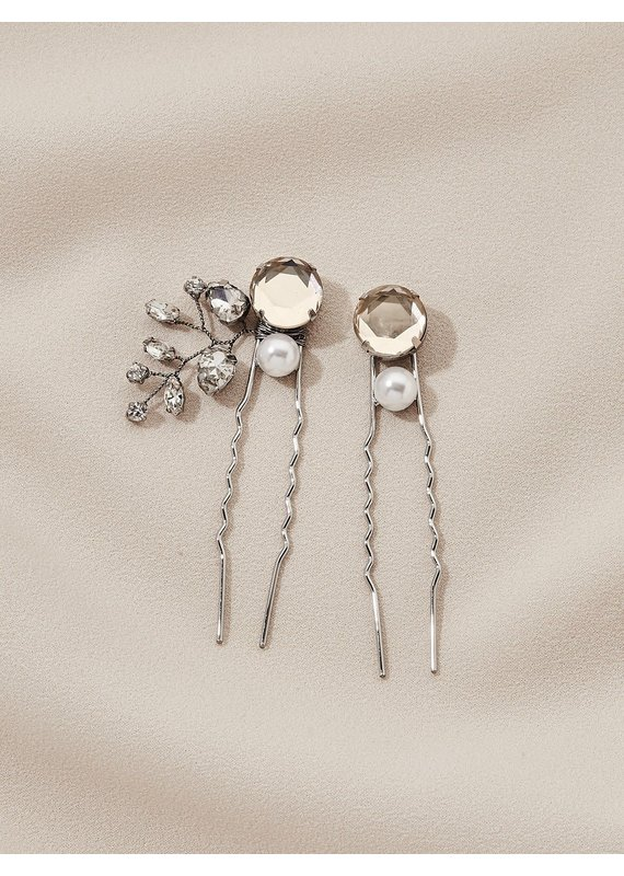 Olive + Piper Ava Hairs Pins (Set of 2) Silver