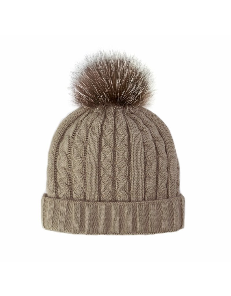 Mitchies Matchings Taupe Knit Hat w Crystal Fox Pom