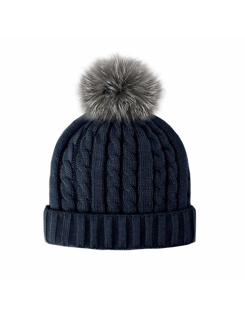Mitchies Matchings Navy Knit Hat w Indigo Fox Pom