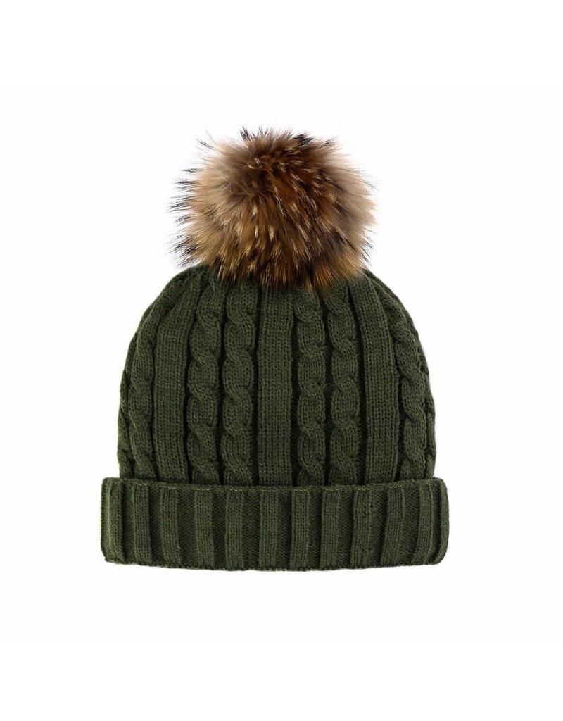 Mitchies Matchings Khaki Knit Hat w Finn Raccoon Pom