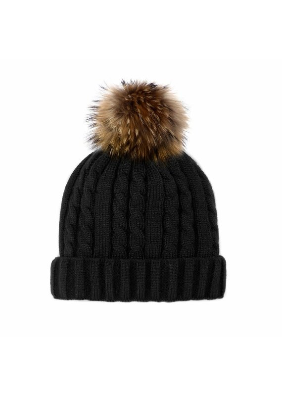 Mitchies Matchings Black Knit Hat w Finn Raccoon Pom