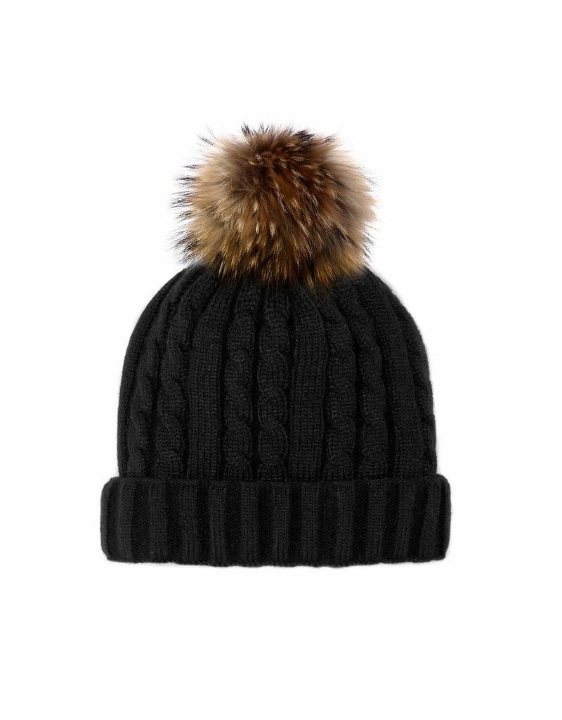 Mitchies Matchings Black Knit Hat w Finn Raccoon Pom Pom