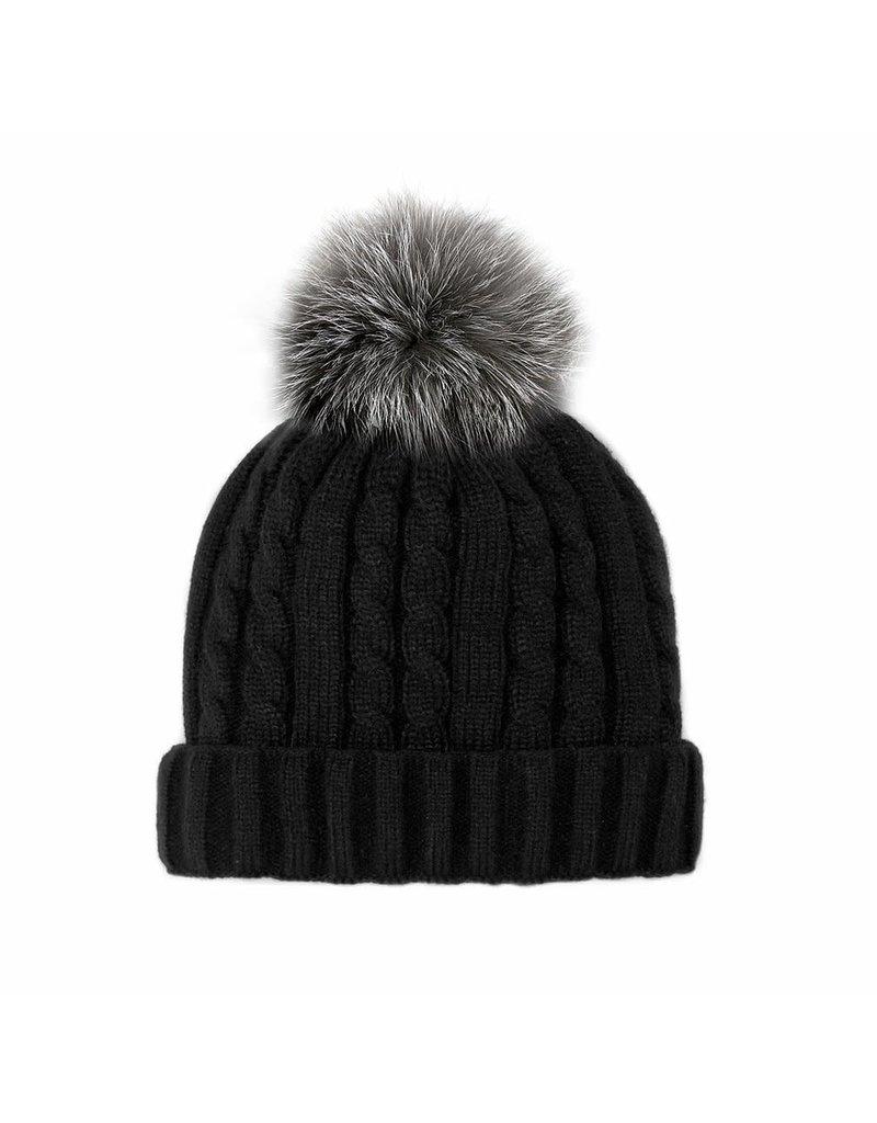 Mitchies Matchings Black Knit Hat w Indigo Fox Pom