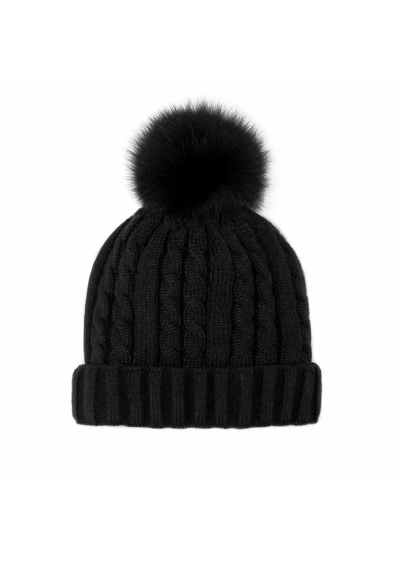 Mitchies Matchings Black Knit Hat w Black Fox Pom