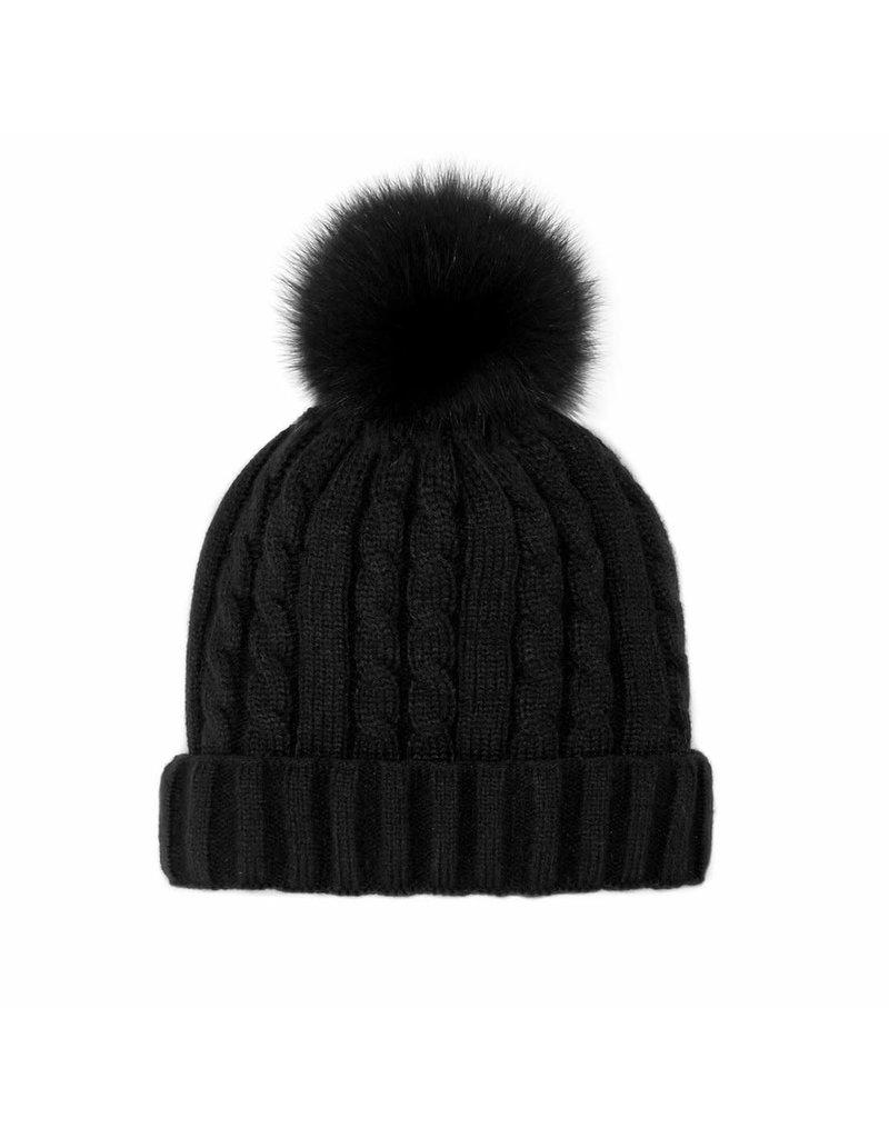 Mitchies Matchings Black Knit Hat w Black Fox Pom