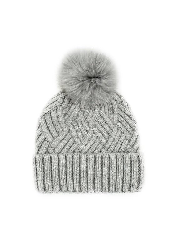 Mitchies Matchings Light Grey Woven Knit Hat w Fox Pom