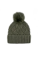 Mitchies Matchings Khaki Woven Knit Hat w Fox Pom