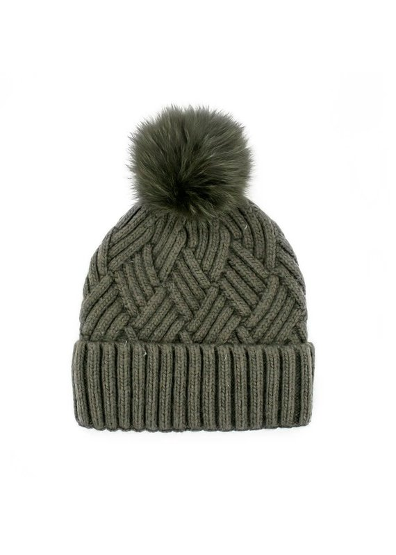 Mitchies Matchings Khaki Woven Knit Hat w Fox Pom