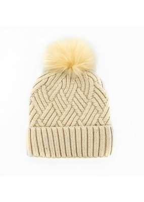 Mitchies Matchings Ivory Woven Knit Hat w Fox Pom