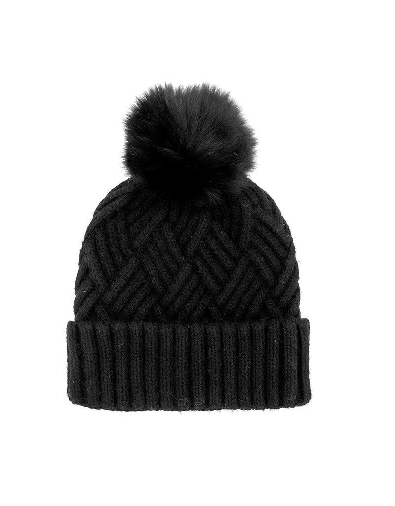 Mitchies Matchings Black Woven Knit Hat w Fox Pom