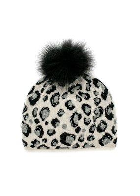 Mitchies Matchings Pearl & Black Leopard Print Hat w Fox Pom