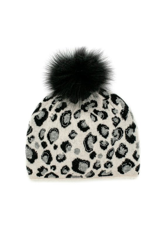 Mitchies Matchings Pearl & Black Leopard Print Hat w Fox Pom