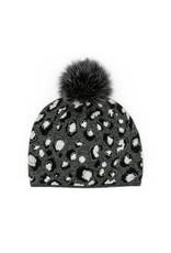Mitchies Matchings Black & Charcoal Leopard Print Hat w Fox Pom