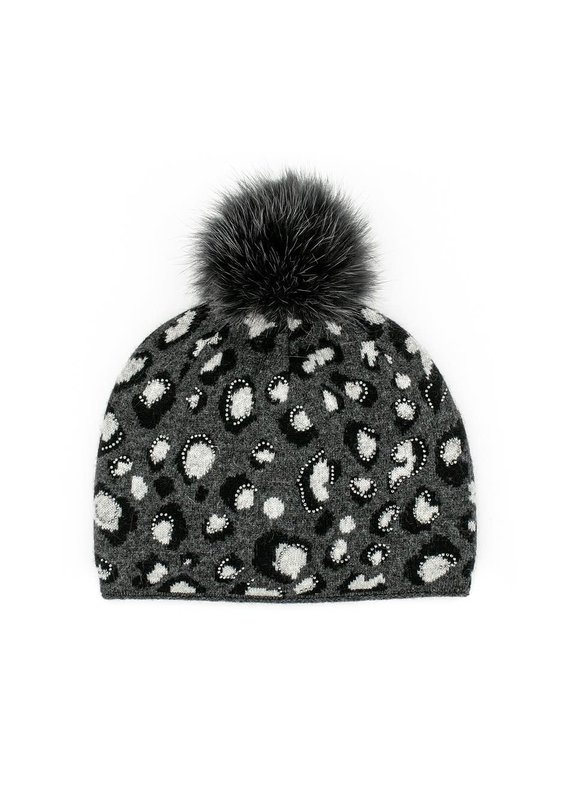 Mitchies Matchings Black & Charcoal Leopard Print Hat w Fox Pom