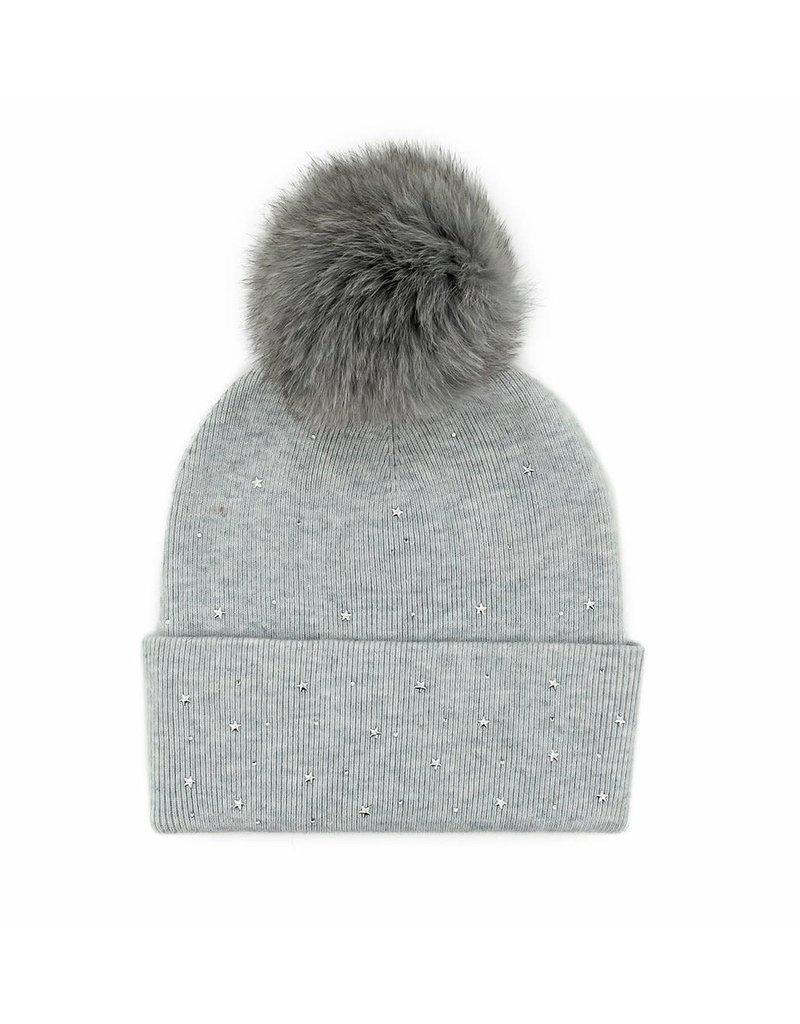 Mitchies Matchings Grey Star Hat w Fox Pom