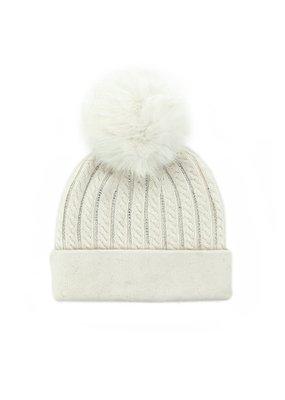 Mitchies Matchings White Knit Crystal Hat w Fox Pom