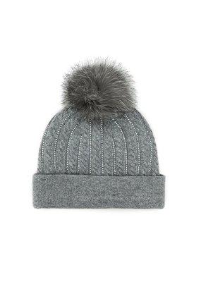 Mitchies Matchings Grey Knit Crystal Hat w Fox Pom