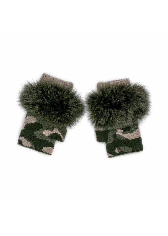 Mitchies Matchings Khaki  Camo Fingerless Glove w Fox Trim