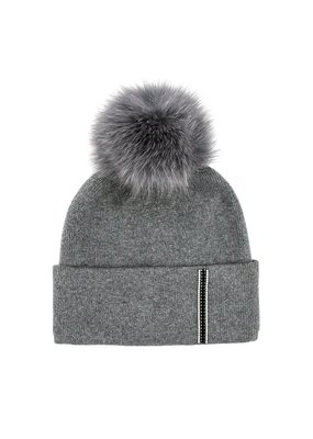 Mitchies Matchings Grey Fox Pom Hat w Stripe