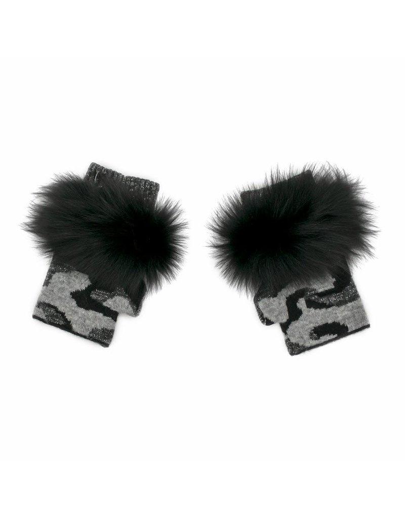 Mitchies Matchings Black Camo Fingerless Glove w Fox Trim