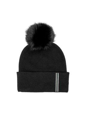 Mitchies Matchings Black Fox Pom Hat w Stripe