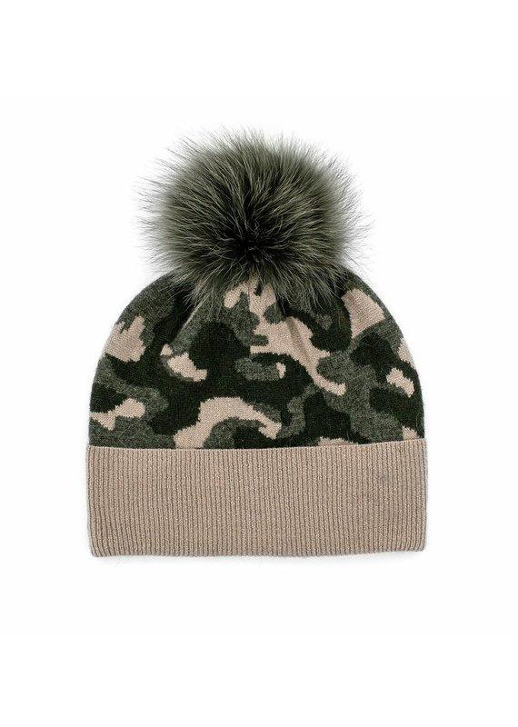 Mitchies Matchings Khaki & Beige Camo Fox Pom Hat