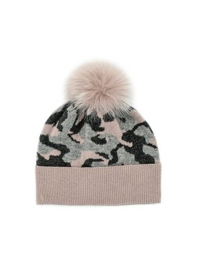 Mitchies Matchings Grey & Dusty Pink Camouflage Fox Pom Hat