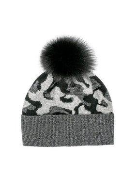 Mitchies Matchings Black & Charcoal Camouflage Fox Pom Hat