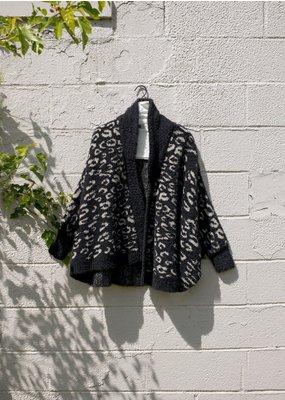 Look By M Black Leopard Cardigan