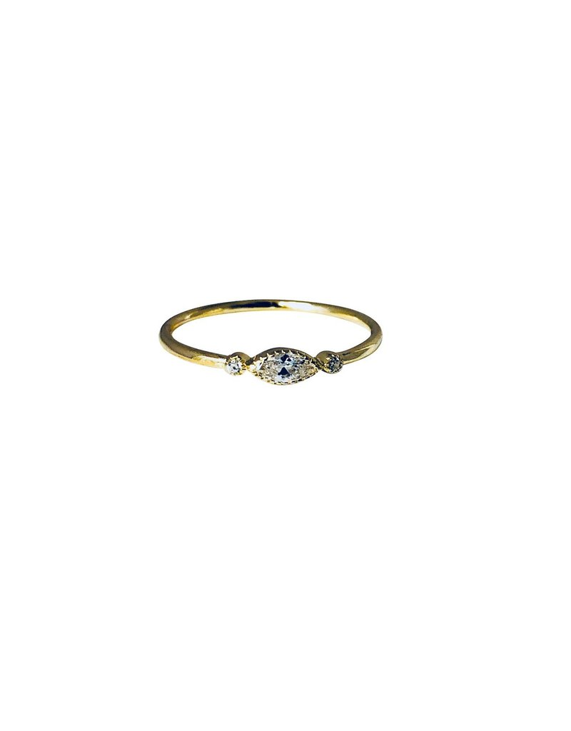 Modern Opus 14K Gold Plated Marquise CZ Ring SZ 6