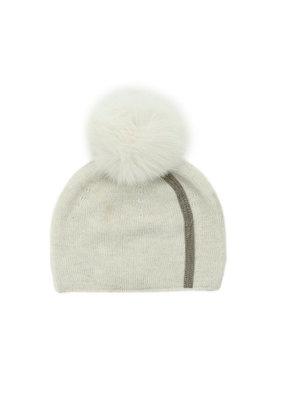 Mitchies Matchings White Fox Pom Hat w Stripe