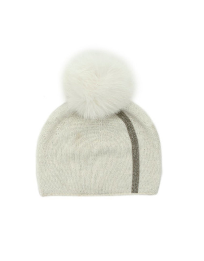 Mitchies Matchings White Fox Pom Hat w Stripe