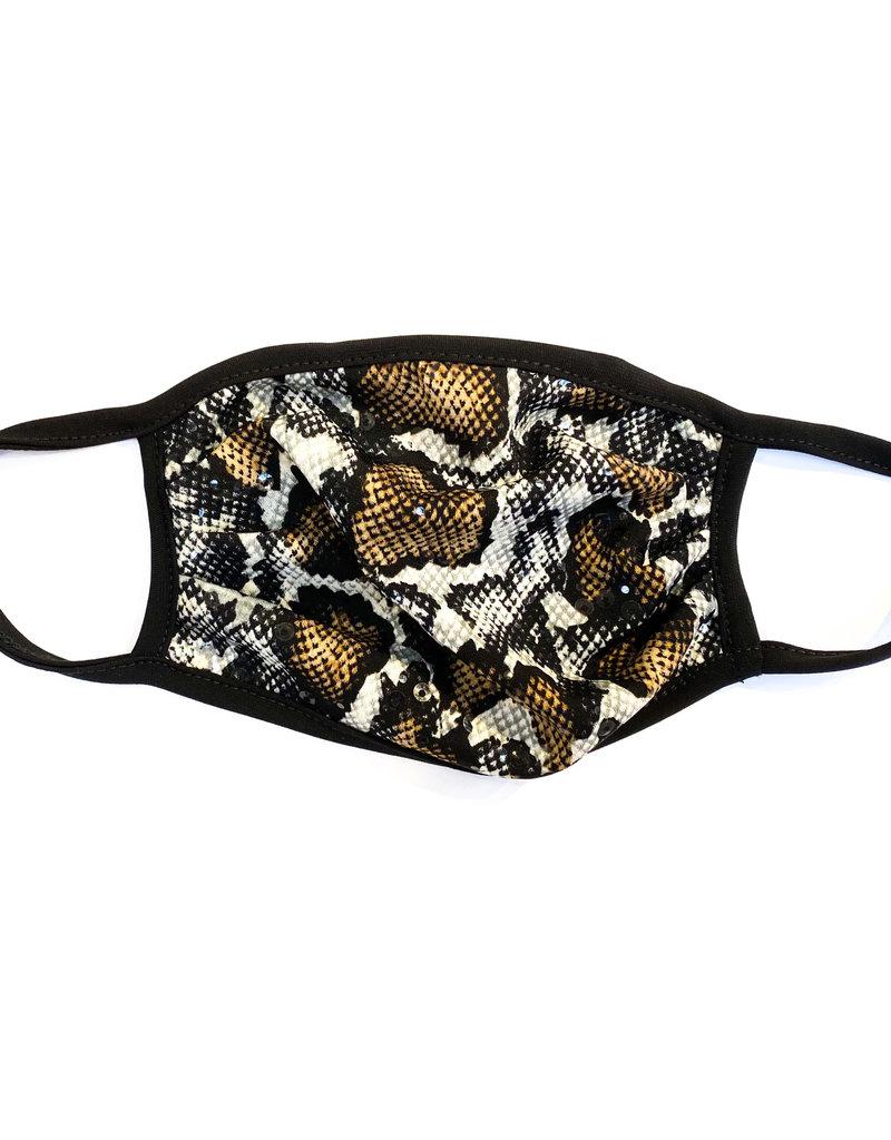 Brown & Black Snake Skin Sparkle Face Mask