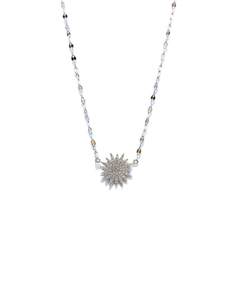 iiShii Designs Sterling Radiating Sunburst CZ Necklace