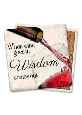 Tipsy Coasters When Wine Goes in Wisdom Comes Coaster