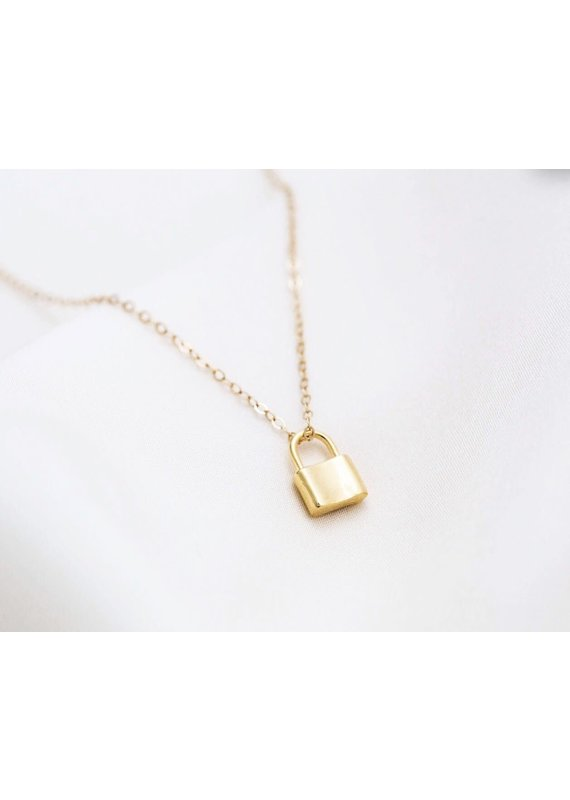 Modern Opus Small Gold Lock Necklace