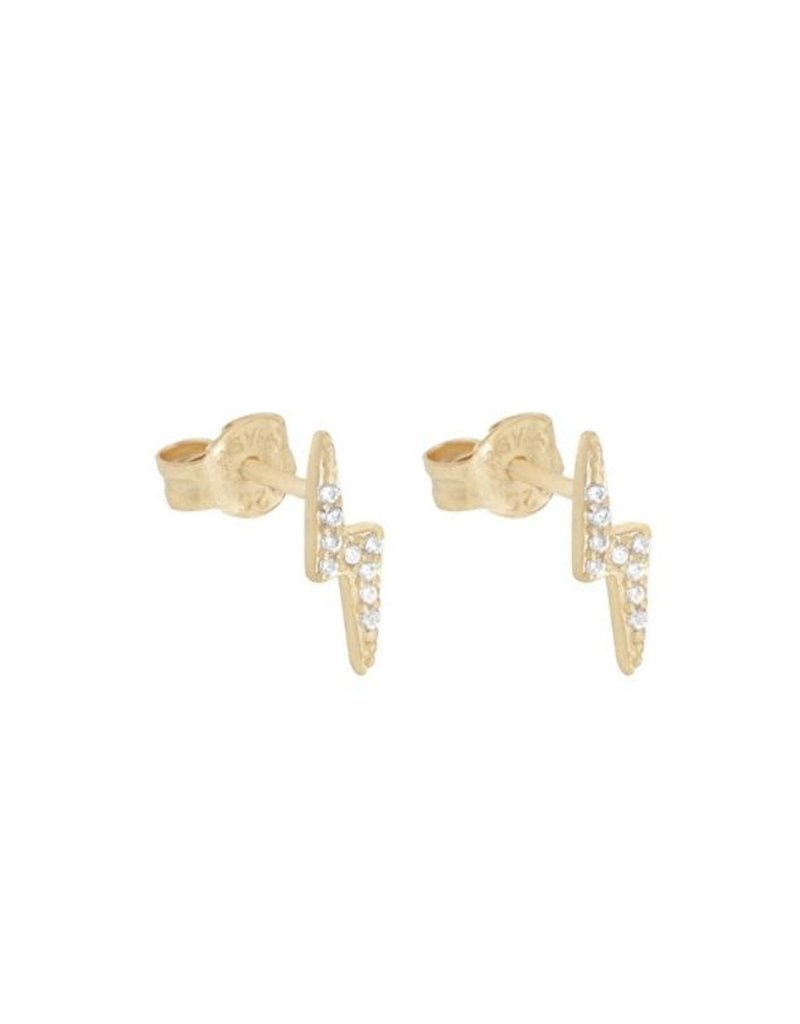 Modern Opus CZ Lightning Post Earrings