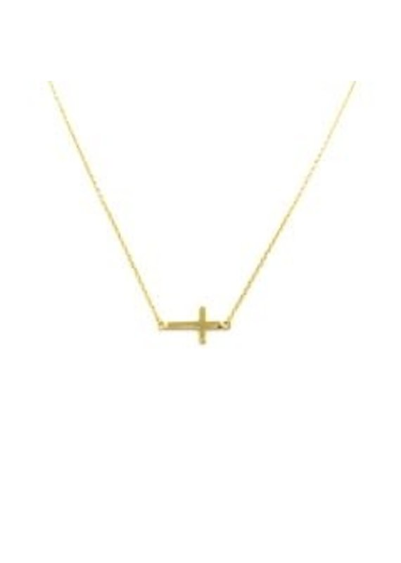 Modern Opus 14K Gold Plated Sideways Cross Necklace
