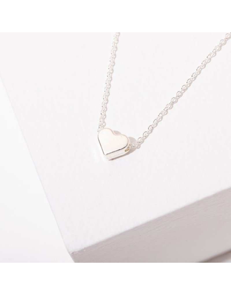 Larissa Loden Heart Necklace Rhodium Plated Letters