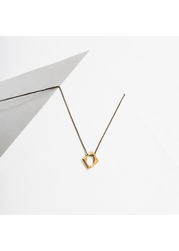 Larissa Loden Polymath Necklace Open Diamond Brass