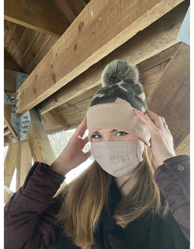 Mitchies Matchings Khaki & Beige Camouflage Fox Pom Hat