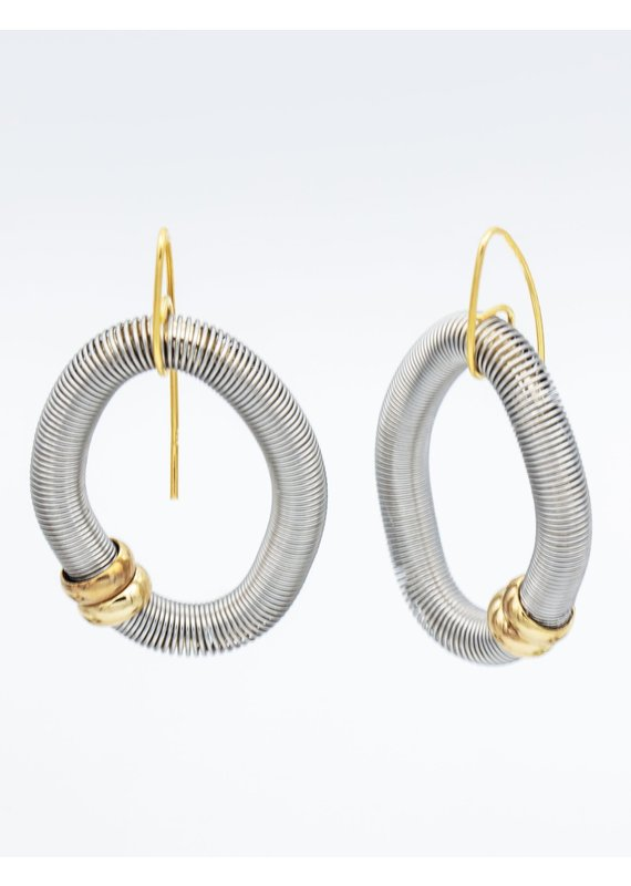 Sea Lily Silver Diamond Shaped Wire Earrings