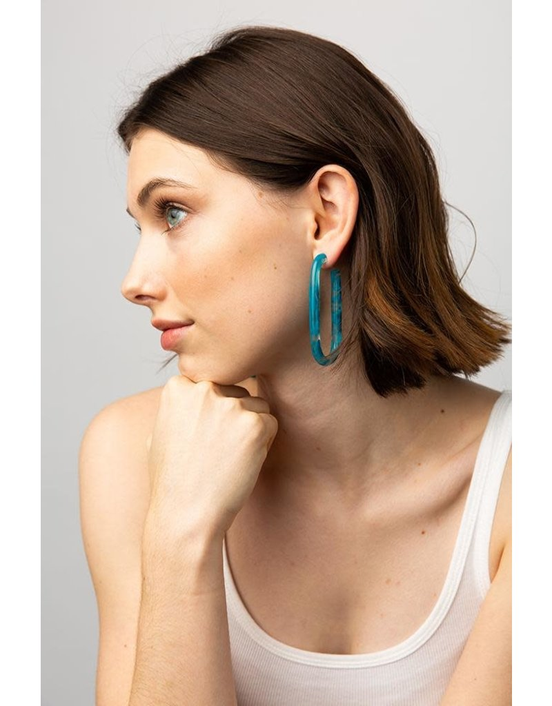 Ink + Alloy Turquoise Marbled Long Acetate Hoop