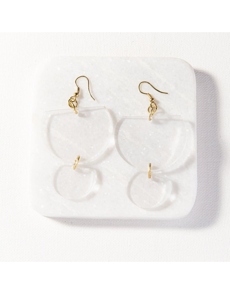 Ink + Alloy Clear Double Half Round Lucite Earring