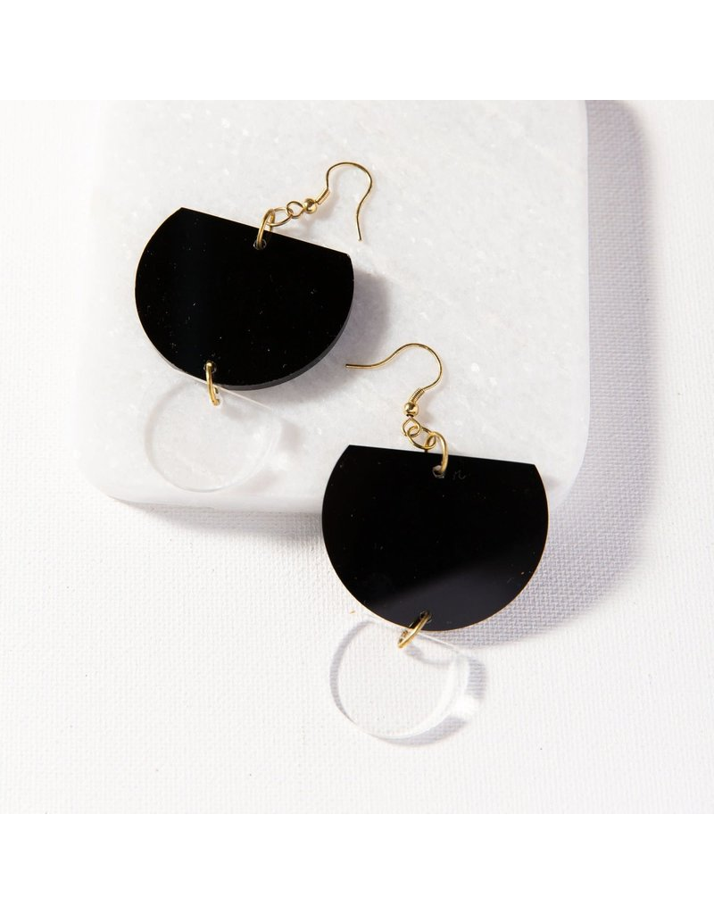 Ink + Alloy Black Double Half Round Lucite Earring