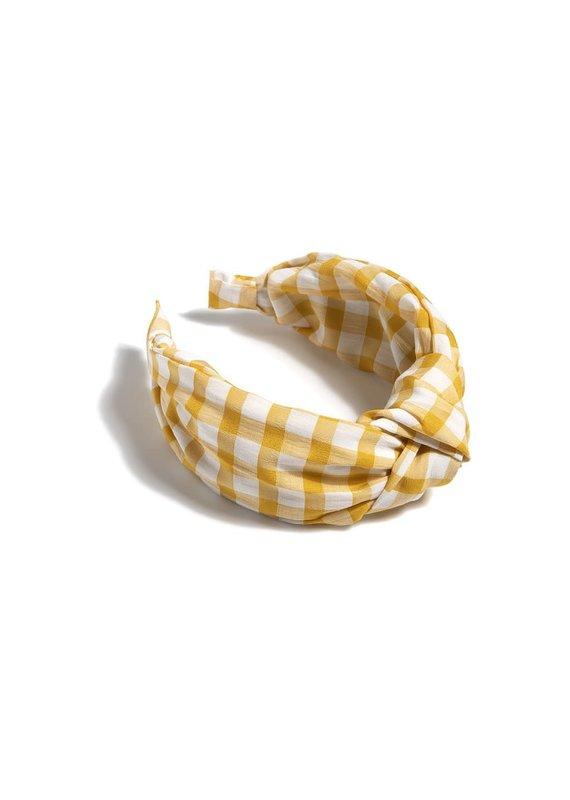 Shiraleah Yellow Knotted Gingham Plaid Headband