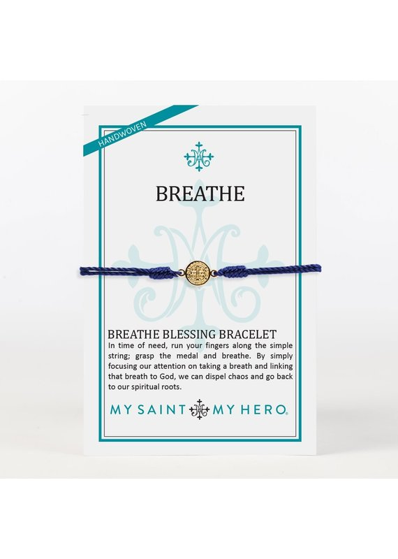 My Saint My Hero Navy & Gold Breathe Blessing Bracelet